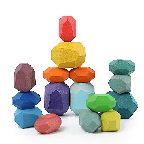 SuntonPiece Wood Rock Set - Mixed Wood Species - Balancing Blocks-Natural Wood Toy - Organic Jojoba Oil and Beeswax Finish -Open-Ended Educational Montessori Toy - Sensory Toy (16PCS)