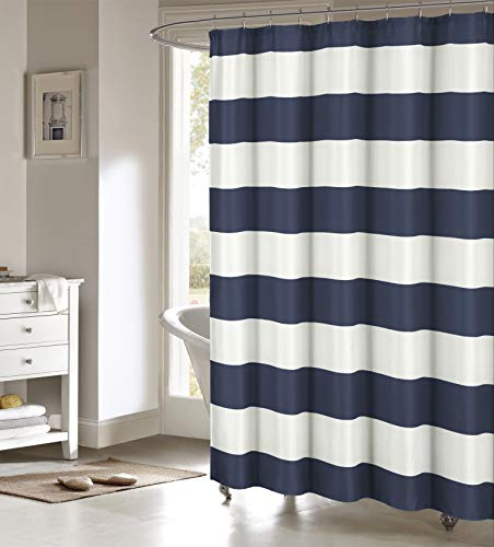 SERAFINA Toto Cabana Stripe Shower Curtain, 70x70, Navy
