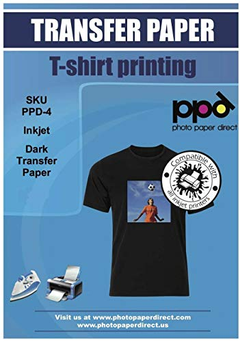 PPD Inkjet Iron-On Dark T Shirt Transfers Paper LTR 8.5x11' Pack of 50 Sheets (PPD004-50)