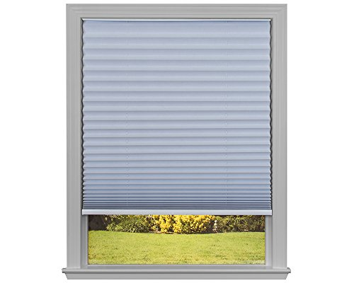 Easy Lift Trim-at-Home Cordless Pleated Light Blocking Fabric Shade White, 36 in x 64 in, (Fits windows 19'- 36')