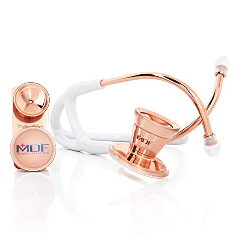 MDF ProCardial Core Cardiology Stainless Steel Dual Head Adult-Pediatric Stethoscope with Adult Cardiology Bell Convertible Attachment - Free-Parts-for-Life (MDF797DD) (Rose Gold/White)