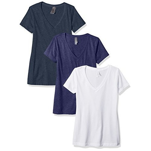 Clementine Apparel Women's Petite Plus Deep V Neck Tee (Pack of 3), White/Storm/Midnight Navy, S