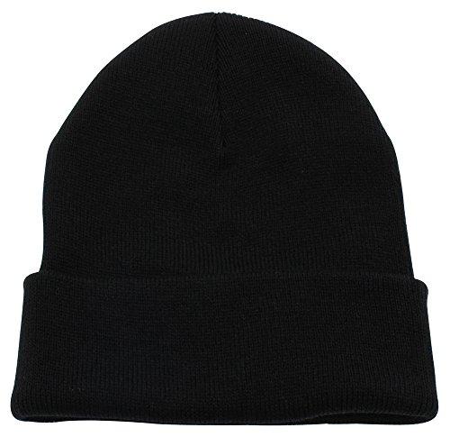 Top Level Unisex Cuffed Plain Skull Beanie Toboggan Knit Hat/Cap, Blk