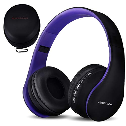 PowerLocus Wireless Bluetooth Over-Ear Stereo Foldable Headphones, Wired Headsets Rechargeable with Built-in Microphone for iPhone, Samsung, LG, iPad (Purple)