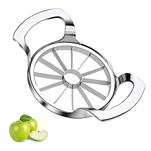Sinnsally Apple Slicer Upgraded Version 12-Blade Extra Large Apple Corer Peeler,Stainless Steel Ultra-Sharp Fruit Corer & Remover,Cutter,Wedger,Pitter,Decorer Tool,Divider for Up to 4 Inches Apples