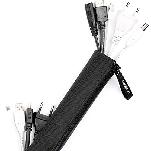 Samaray Cable Management Sleeve With Zipper, Holes, 2 pack 47 inches in Quality Polyester, Cord Organizer for TV / Computer / Home / Office / Entertainment, Flexible Cable Sleeve Cover, Black