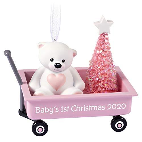 Hallmark Keepsake Ornament 2020 Year-Dated, Baby Girl's First Christmas Teddy Bear in Pink Wagon