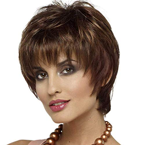 CSS Wig 11 Inches Short Curly Women Girls Charming Synthetic Wig with Bangs Wig Cap Included