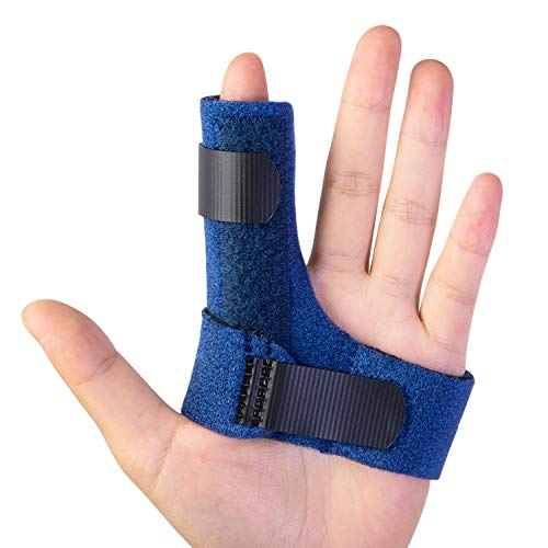 Trigger Finger Splints, Finger Brace with 2 Gel Sleeves for Injured Mallet Finger, Straightening Supports for Sprains Pain Relief, Sports Broken Injury, Dislocated Immobilizer, Knuckle Tendon