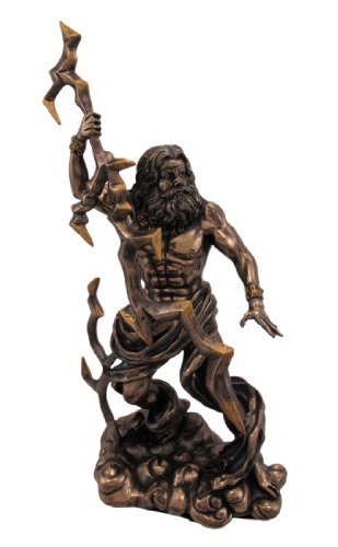 PTC King Zeus Grecian God Throwing Lightning Resin Statue Figurine