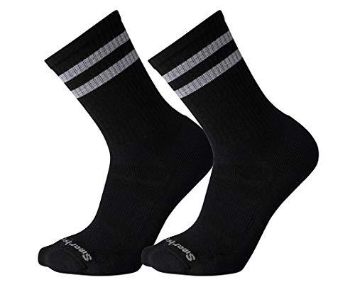 Smartwool Men's Athletic Stripe 2 Pack Crew Light Elite Merino Wool Socks, Black, Medium