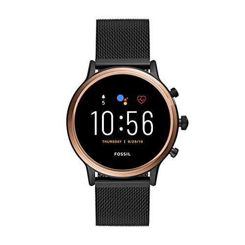 Fossil 44mm Gen 5 Julianna Stainless Steel Mesh Touchscreen Smart Watch, Color: Rose Gold/Black (Model: FTW6036)