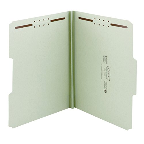 Smead 100% Recycled Pressboard Fastener File Folder, 2 Fasteners, 1/3-Cut Tab, 1' Expansion, Letter Size, Gray/Green, 25 per Box (15003)