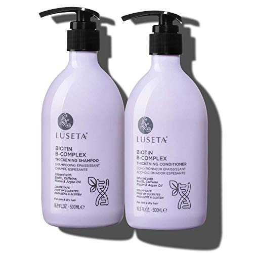 Luseta Biotin B-Complex Shampoo & Conditioner Set for Hair Growth and Strengthener - Hair Loss Treatment for Thinning Hair With Biotin Caffein and Argan Oil for Men & Women - All Hair Types 2 x 16.9oz