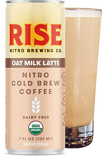 RISE Brewing Co. | Oat Milk Nitro Cold Brew Latte (12 Pack) 7 fl. oz. Cans - Organic, Non-GMO | No Sugar Added & Vegan | Draft Nitrogen Pour, Clean Energy, Low Acidity & Refreshingly Smooth