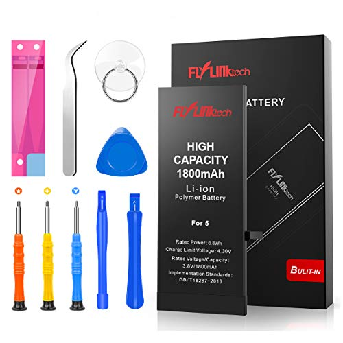Flylinktech for iPhone 5 Battery, 1800 mAh High Capacity Li-ion Battery with Repair Tool Kit -Included 24 Months Assurance