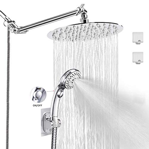 LOHNER Rainfall Shower Head Kit with Hose, Luxurious Stainless Steel 8'' Rain Showerhead and 5 Settings Handheld Combo with Push Button Flow Control, with Adjustable Shower Arm (Round Shower Set)