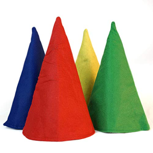 Gnome Cone Hats - 4 Pack- Red - Yellow - Blue - Green - One Size - Costume Accessory
