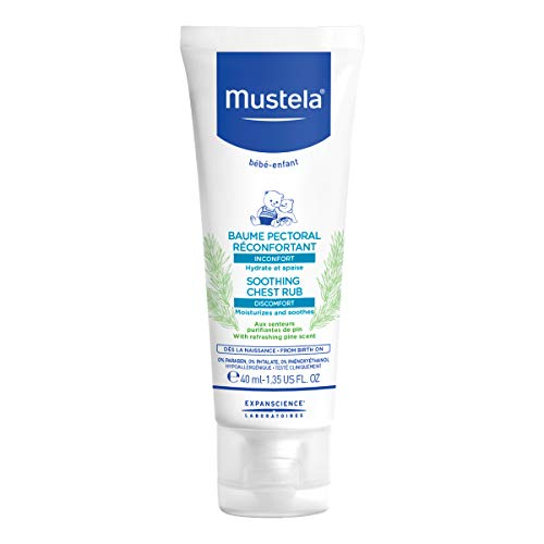 Mustela Soothing Chest Rub, Baby Chest Rub, Natural Balm with Pine Scent and Honey Extract, 1.35 Oz