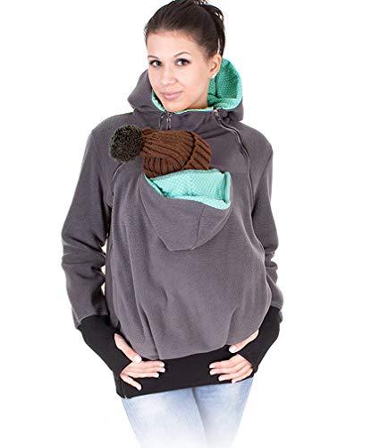 monochef Women's Fleece Zip Up Maternity Baby Wearing Carrier Hoodie Sweatshirt Jacket… Darkgrey