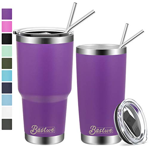 20oz and 30oz Stainless Steel Tumblers with Straws, Bastwe Double Wall Vacuum Insulated Travel Mug, Coffee Cup for Home, Office, School, Works Great for Ice Drink, Hot Beverage (2 Pack, Purple)
