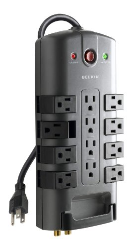 Belkin Surge Power Strip Protector - 8 Rotating & 4 Stationary AC Multiple Outlets - 8 ft Long Heavy Duty Extension Cord Flat Pivot Plug for Home, Office, Travel, Desktop & Charging Brick, 4320 Joules