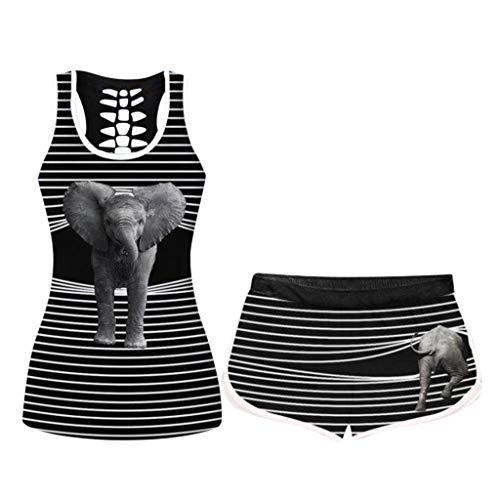 WEI MOLO Women's Comfy Printing O-Neck Halloween Short Sleeve Shirts Sets Elastic Drawstring Shorts Set
