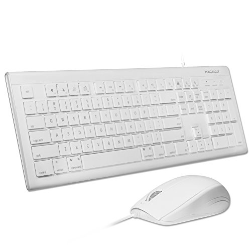 Macally 104 Key USB Wired Keyboard and Mouse Combo with Apple Shortcut Keys for Mac, iMac, Macbook, and Windows PC (MKEYECOMBO), White