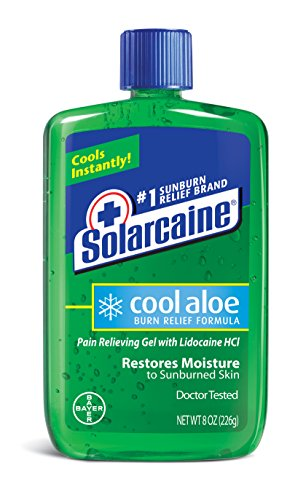 Solarcaine Cool Aloe Burn Relief Gel with Lidocaine and Aloe Vera, Doctor Tested, Fragrance Free, Alcohol Free and Non-irritating, #1 Sunburn Relief Brand (8 Ounce Gel)