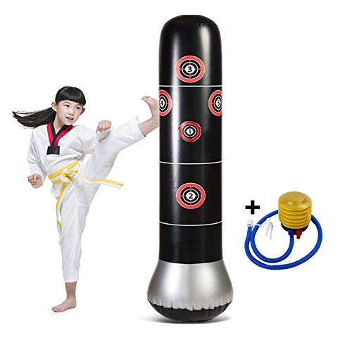 CRRD Fitness Punching Bag Heavy Punching Bag Inflatable Punching Tower Bag Freestanding Children Fitness Play Adults De-Stress Boxing Target Bag