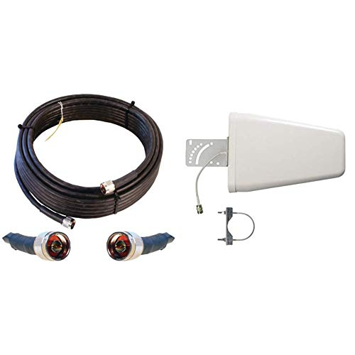 Wilson Electronics 50 ft. Black WILSON-400 Ultra Low Loss Coax Cable (N-Male to NMale) & Wilson Electronics Wideband Directional Antenna 700-2700 MHz, 50 Ohm (314411)
