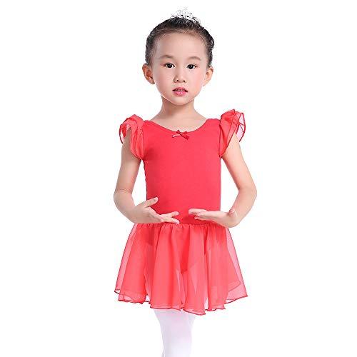Flutter Sleeves Ballet Leotard Skirted Dance Dress for Girls and Toddlers (6, Red)