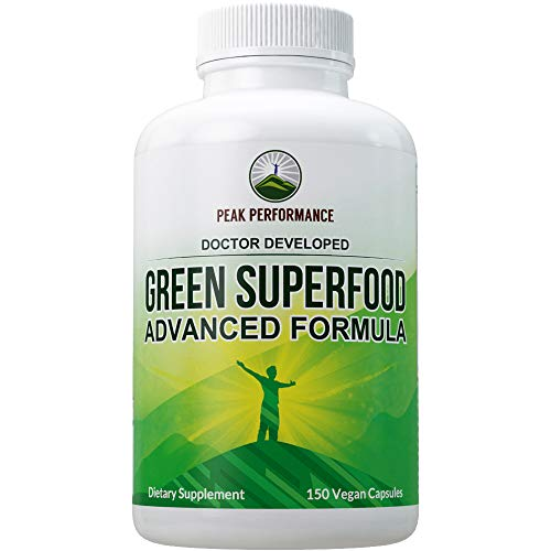 Super Greens 150 Capsules - Green Juice Superfood Supplement with 25 All Natural Organic Ingredients. Max Energy and Detox Super Food Pills with Spirulina, Spinach, Kale, Turmeric, Probiotics