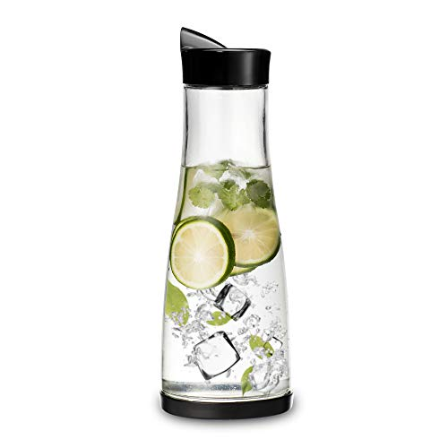 Chefoh Glass Water Carafe With Lid And Protective Base, EZ Pour Drip Spout 1 Liter/ 33.8 Oz, Fridge Water Pitcher Bottle Dispenser, Great For Juice, Lemonade, Iced Tea, Milk, Wine