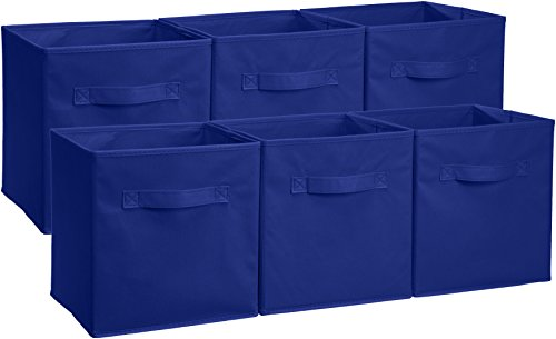 AmazonBasics Collapsible Fabric Storage Cubes Organizer with Handles, Navy - Pack of 6