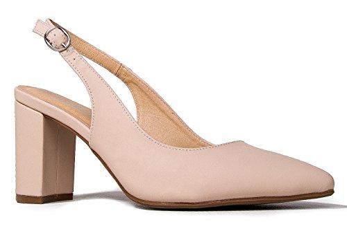 J. Adams Peyton Slingback Heels - Low Buckle Ankle Strap Pointed Toe Sandals