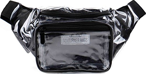 SoJourner Transparent Clear Fanny Pack - Stadium Approved Transparent Bag for Sports, Arenas, Festivals & Concerts