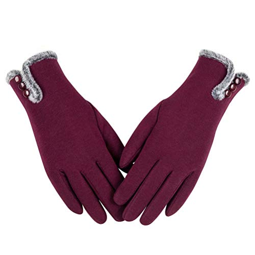 Womens Winter Warm Gloves With Sensitive Touch Screen Texting Fingers, Fleece Lined Windproof Gloves (Burgundy-M)