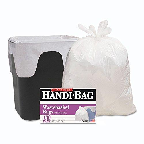 Webster HAB6FW130 Handi Bag 8 Gallon Super Value Pack Waste Basket Bag, 0.6 Mil, 24' Height x 22' Width, White (Case of 130)