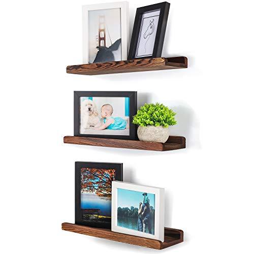 TJ.MOREE Picture Ledge Shelf Wall Mounted, Rustic Wood Photo Ledge Floating Shelves Set of 3, Floating Bookshelf Decor Vinyl Display for Living Room, Bedroom, Bathroom, Nursery - Carbonized Brown