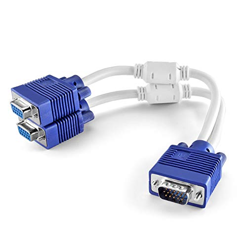 TNP VGA Splitter Cable (1 Feet, 0.3 Meters) 1 Male to 2 Female 15 Pin VGA Monitor Adapter Y Cable Cord for Screen Duplication, Ideal for Security Monitors, Conference Room Presentations, Offices