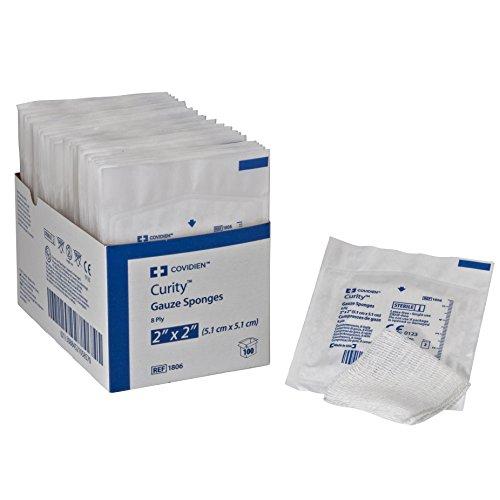 Covidien 1806 Curity Gauze Sponge, Sterile 2's in Peel-Back Package, 2' x 2', 8-ply (Pack of 100)