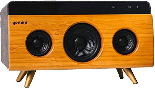 Gemini BRS-330 Portable Bamboo Bluetooth Speaker 30W Stereo Sound with Built-in Mic & Long Lasting Battery, USB/SD Playback, 3.5MM Auxiliary Input, Wireless Speaker for Outdoors Travel and Home