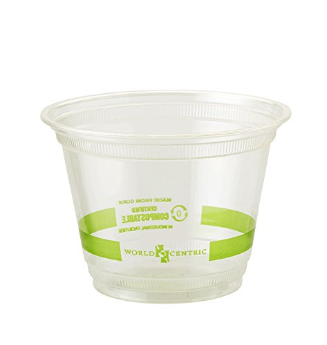 World Centric's (CP-CS-9Q) Compostable 9 Ounce Squat Corn PLA Cold Cup (Package of 200)