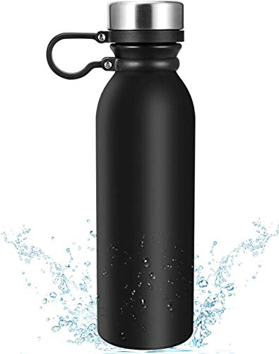 Insulated Water Bottle, Eccomum 20 oz Vacuum Thermo Flask, 18/8 Stainless Steel Double Wall Water Bottle Keep Hot & Cold, Insulated, BPA Free, Leakproof, Wide Mouth Lids with Finger Belt