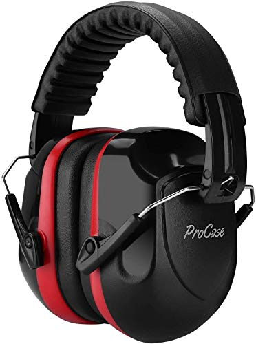 ProCase Noise Reduction Safety Ear Muffs, Shooters Hearing Protection Earmuffs, NRR 28dB Noise Sound Protection for Shooting Range Mowing Construction Manufacturing Woodwork Men Women Adult -Red