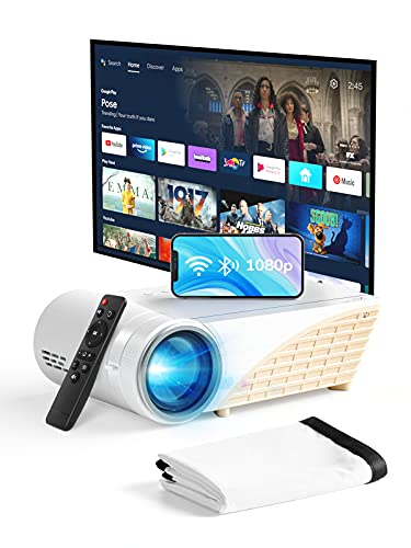 YEHUA Mini Projector with WiFi and Bluetooth,4k Portable Projector HD 1080P and 200' Display,LED Outdoor Movie Projector with Screen and Remote,Compatible with iOS,Android,HDMI,VGA,AV,2 USB Interface