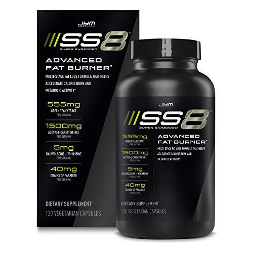 Jym SS8 Super Shredded 8 | Advanced Fat Burner, Acetyl-L Carnitine, Tyrosine, Green Tea Extract, Caffeine, Capsimax, Grains of Paradise, Yohimbe, Rauwolscine | Jym Supplement Science | 120 Capsules