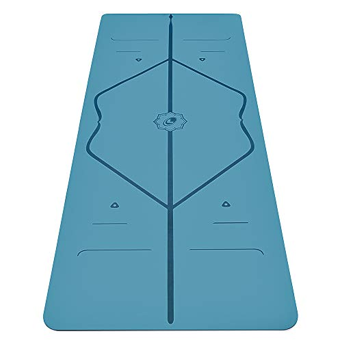 Liforme Travel Yoga Mat – Patented Alignment System, Warrior-Like Grip, Non-Slip, Eco-Friendly and Biodegradable, Ultra-Lightweight, Sweat Resistant, Long, Wide and Thick - Blue