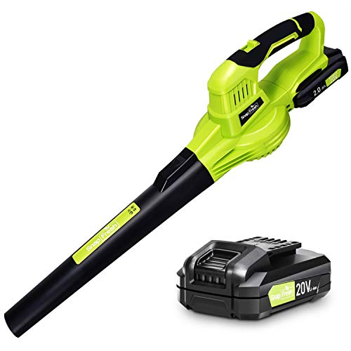 Cordless Leaf Blower - Electric Leaf Blower battery-powered, 20V Lithium Leaf Blower Cordless with Battery & Charger, Powerful Cordless Blower Lightweight for Sweeping Snow (Battery&Charger Included)